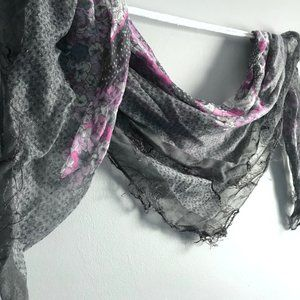 Large Square Sheer Floral Scarf